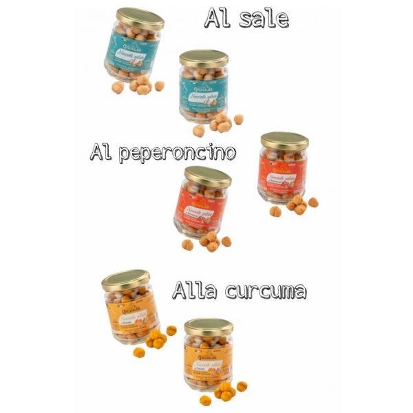 Golosalba. Box degustazione nocciole salate (al sale, al peperoncino, alla curcuma).