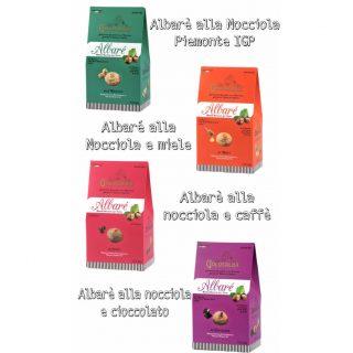 4 confezioni Albarè (nocciola, nocciola e miele, nocciola e cioccolato, nocciola e caffè)
